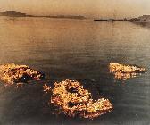 무제: 하천에 떠내려가는 불타는 화판 /1988년경 /이승택